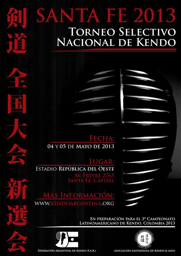 Afiche Oficial del Torneo Selectivo Nacional de Kendo, Santa Fe 2013
